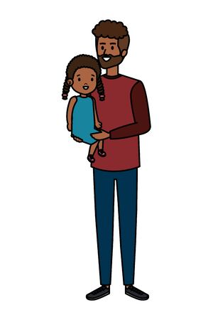 afro father with daughter characters vector illustration design