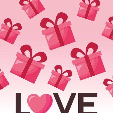 Heart and gifts design, Love valentines day romance relationship passion and emotional theme Vector illustration