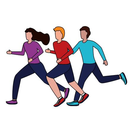 men and woman running activity vector illustration