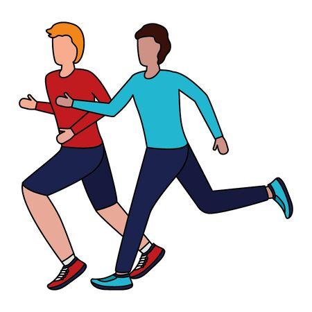 two men practicing running activity vector illustration