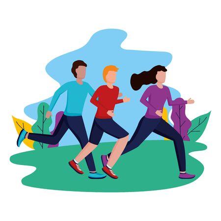 Parque de hombres y mujeres corriendo ilustración de vector de actividad Ilustración de vector