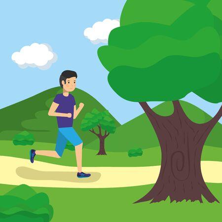 Hombre al aire libre corriendo en la ilustración de vector de actividad de parque