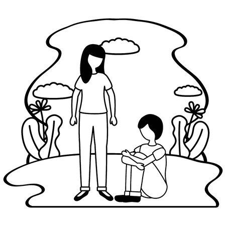 Niña y niño con trastorno mental psicológico deprimido ilustración vectorial
