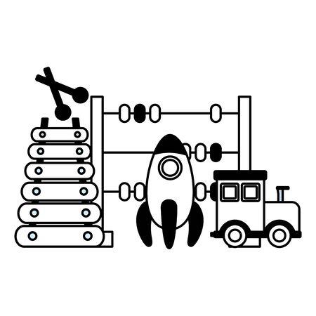 Train fusée xylophone et boulier jouets pour enfants vector illustration
