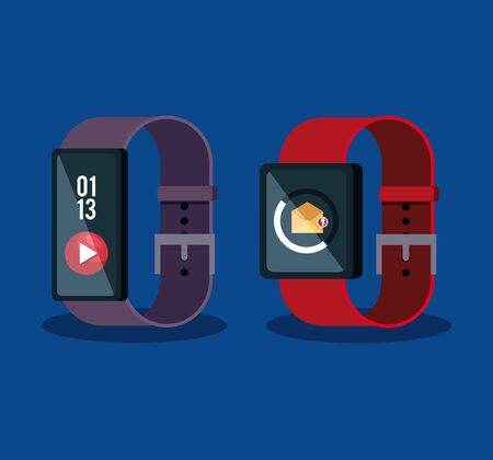 smartwatches technology with letter and video social app vector illustration