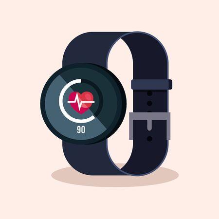 smartwatch technology with heartbeat digital app vector illustration Reklamní fotografie - 130147200