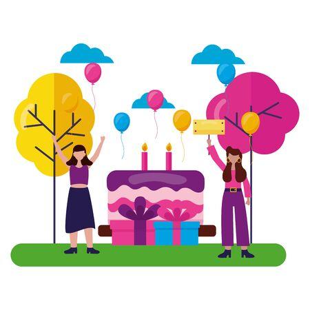 women party cake gifts birthday celebration park vector illustration Illustration