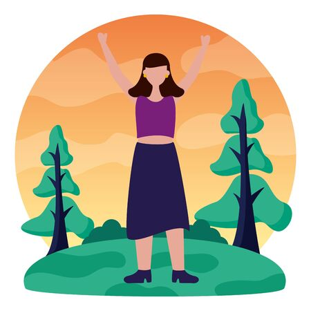 celebrating woman in the outdoors vector illustration Illustration