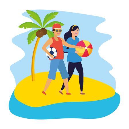 man with football ball and woman with beach ball vector illustration Ilustração