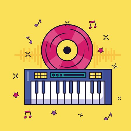 synthesizer vinyl record retro music colorful background vector illustration