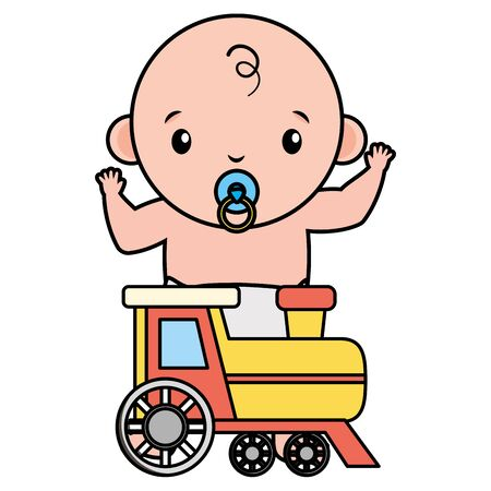 cute little baby boy with train vector illustration design Иллюстрация