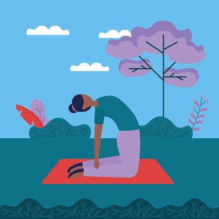 woman flexing back yoga outdoor vector illustration