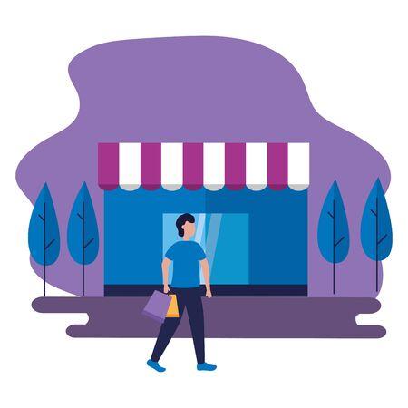 man shopping bag store commerce vector illustration
