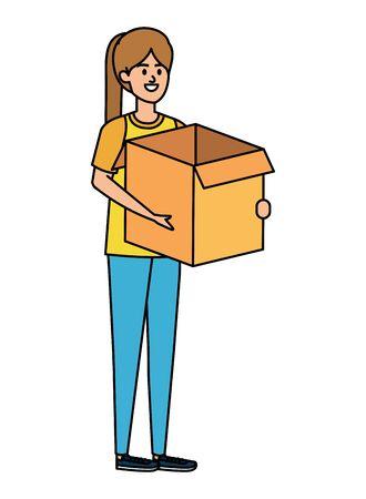 beautiful young woman lifting box carton vector illustration design