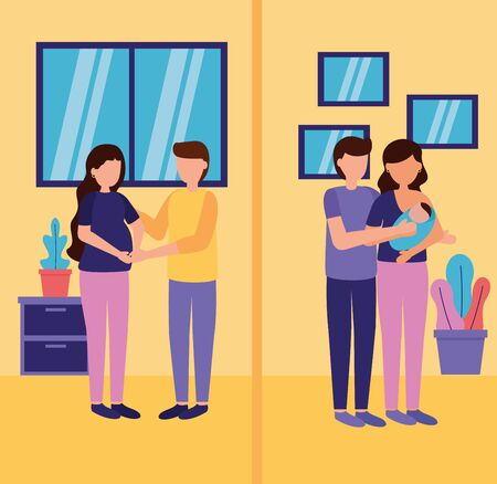 pregnancy woman mother carrying baby and feeding and maternity scene flat vector illustration