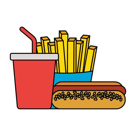 fast food hot dog french fries and soda vector illustration 일러스트