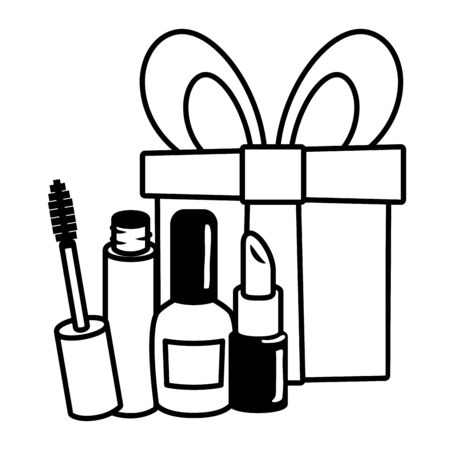 gift mascara brush lipstick pop art elements vector illustration  イラスト・ベクター素材