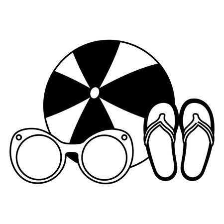 beach vacations ball sunglasses sandals  vector illustration
