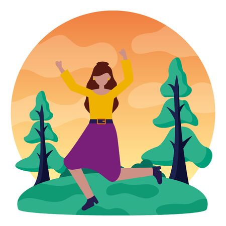 celebrating woman in the outdoors vector illustration  イラスト・ベクター素材