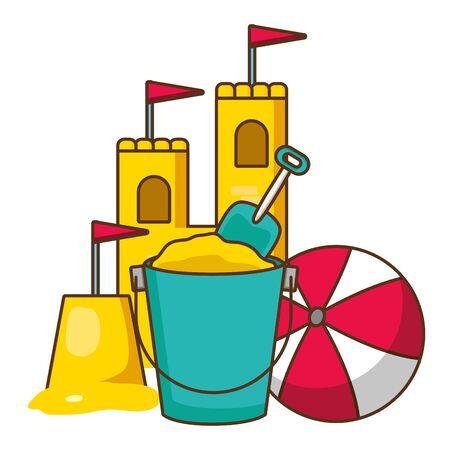 beach bucket shovel castle and ball vector illustration
