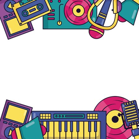 synthesizer turntable vinyl record microphone music festival vector illustration