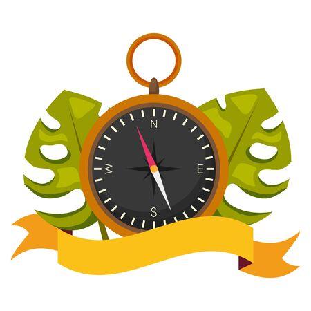 summer time compass tropical leaves background vector illustration Иллюстрация