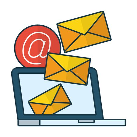 laptop sending email mail communication web vector illustration Фото со стока - 130152577