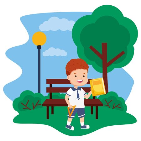 boy student with book and ruler in bench park back to school vector illustration