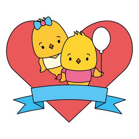cute couple chicks animals heart love ribbon vector illustration Иллюстрация