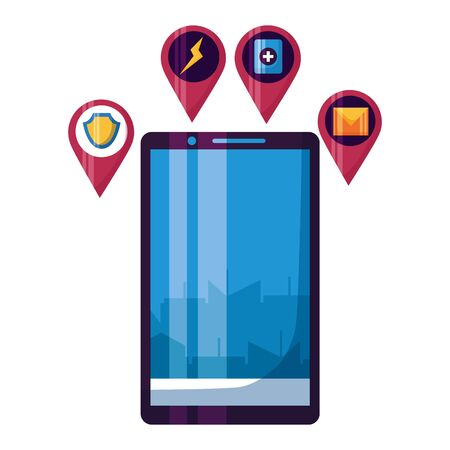 smartphone smart city control app online vector illustration