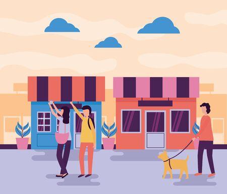 Pareja tomando selfie hombre con perro actividades callejeras al aire libre ilustración vectorial