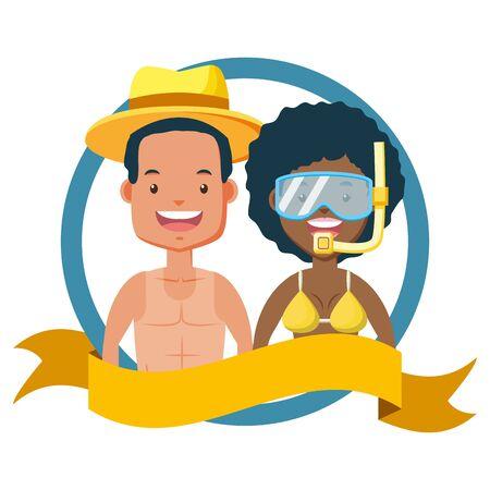 summer time couple with mask snorkel vector illustration Illustration