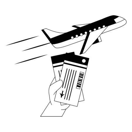zomertijd vakantie vliegtuig hand vliegtickets vectorillustratie