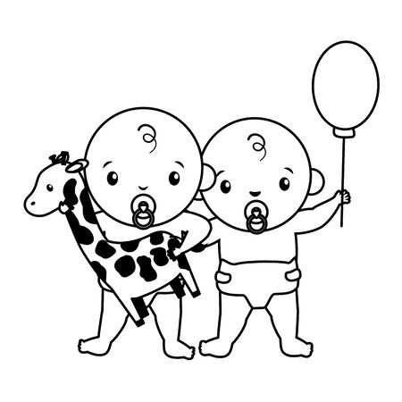 babies boy and girl baby shower giraffe toy vector illustration
