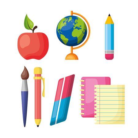regreso a clases globe map pencil brush notebook apple vector illustration 向量圖像