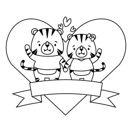 cute couple tiger animals heart love ribbon vector illustration Ilustrace