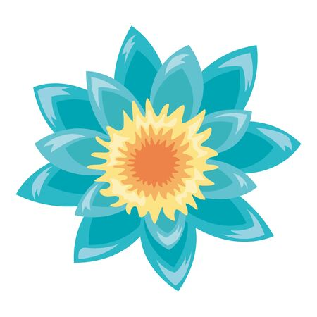 tropical exotic flower decoration icon on white background vector illustration Иллюстрация