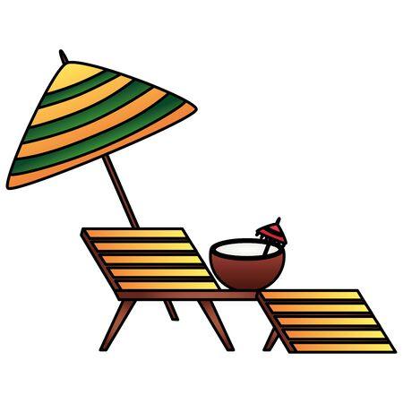 summer time holiday deck chair coconut umbrella vector illustration Фото со стока - 130152626