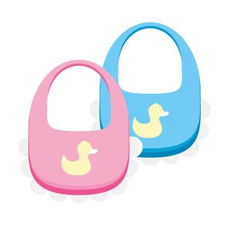 baby bibs on white background vector illustration Illustration