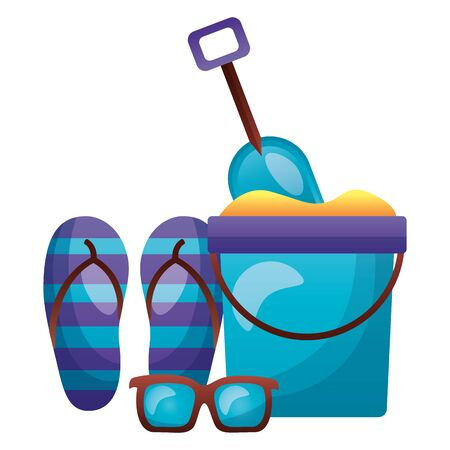 summer time holiday bucket shovel flip flops sunglasses  vector illustration Stock Illustratie