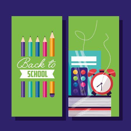 clock books color palette pencils back to school 向量圖像