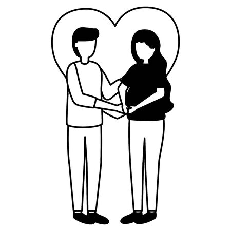 man and woman pregnancy belly and maternity scene flat vector illustration