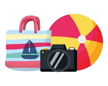 summer time holiday ball handbag and camera vector illustration
