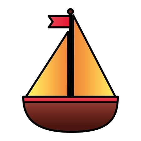 sail boat nautical on white background vector illustration