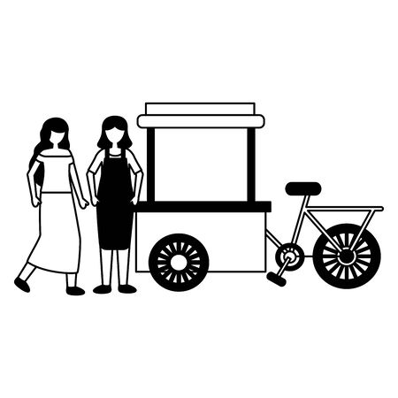 women bicycle food cart design vector illustration