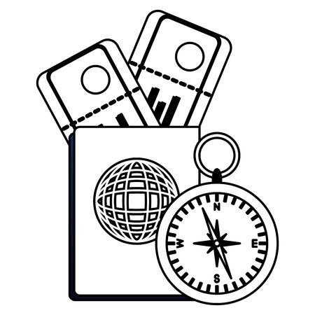 summer time holiday passport compass air tickets vector illustration