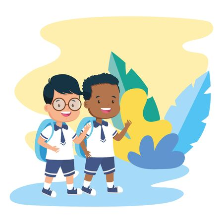 boys students in the park back to school vector illustration
