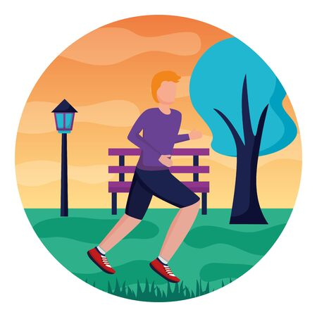 man sport health running activity outdoors vector illustration Ilustracja