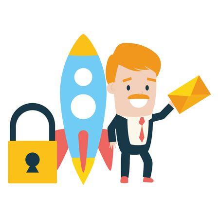 businessman rocket padlock envelope send email vector illustration