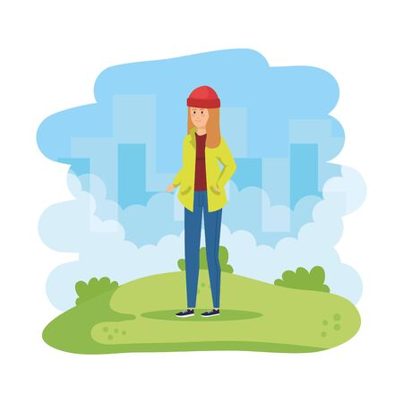 beautiful and young woman in the field vector illustration design